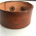 "1 1/2"" Wide Tan Leather Cuff Wristband Bracelet by Shaterra"