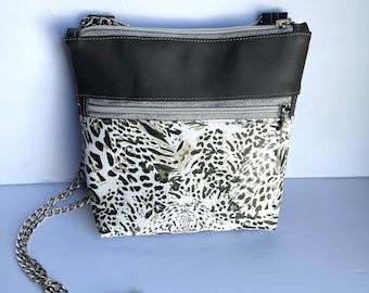 Snow Leopard  Crossbody White Gray Purse Premium Quality Faux Leather Zip Close