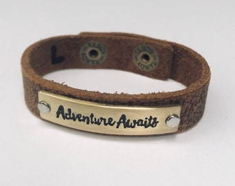 Soft Leather Quote Bracelet