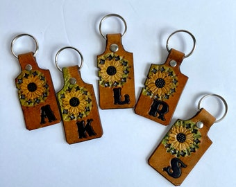 Sunflower Key Chain, Personalized With Initial