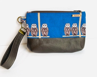 Wristlet Purse, Leather and Owl Fabric, Wristlet Bag, Wrist Bag, Cell Phone Bag, Brown, Attached Leather Key Ring