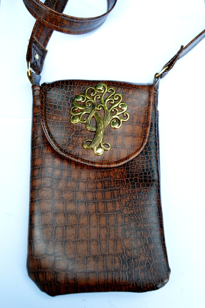 timeless design 8667f 67c49 Brown VEGAN leather crossbody cell phone purse case with Tree | Etsy