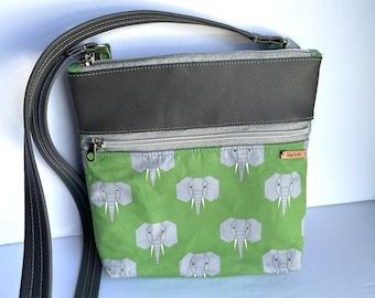 Elephant Print Crossbody Green Gray Purse Cotton Premium Quality Faux Leather Zip Close