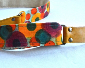 Guitar Strap Hand Painted Canvas with Hemp Webbing