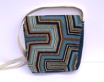 Denim African Print Flap Crossbody Purse Canvas Cotton