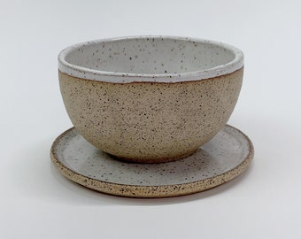 sets of 2 Matcha cups and plates - Speckled creamy contemporary cups, handmade wabisabi
