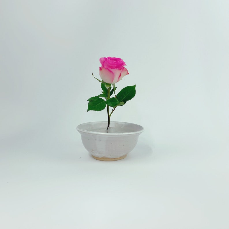 Unique Ikebana cylinder frog Vase // Flower Arrangements White