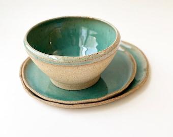 SET OF 3 items - Speckled blue organic plate, bowl, handmade wabisabi