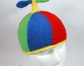 fcebcd1d Crochet Pattern, Propeller Beanie, Halloween Costume, Crochet Propeller, Hat,  Crochet Cap, Crochet Winter Hat, Children's Hat, Cartoon Hat