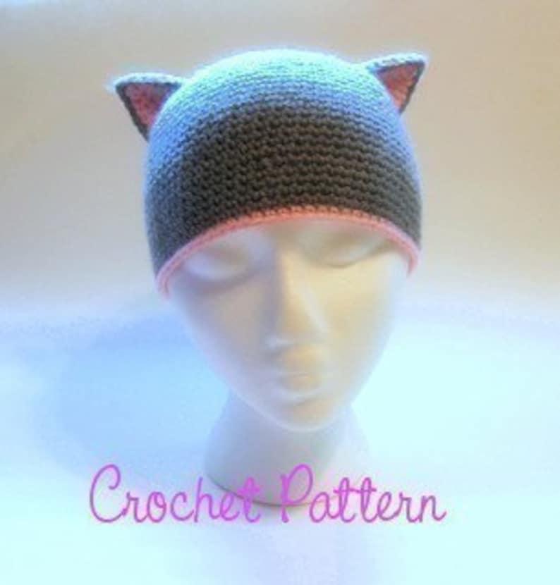 36059499ba6 Crochet Pattern Crochet Cat Beanie Crochet Hat Winter Hat