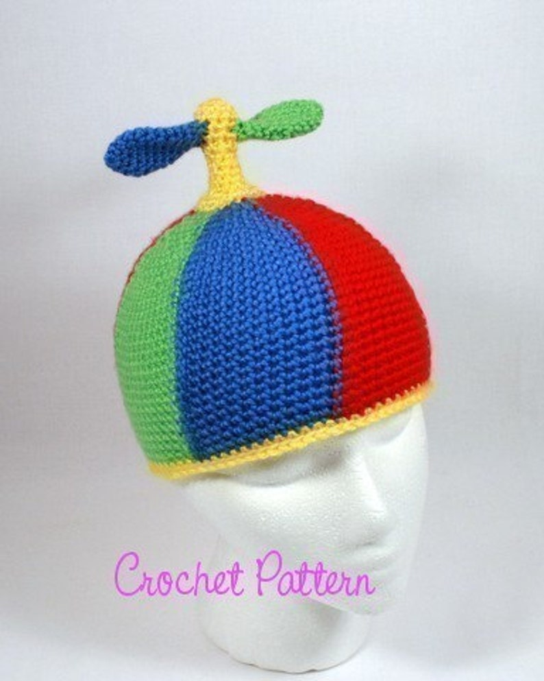 5452bb55d24 Crochet Pattern Propeller Beanie Halloween Costume Crochet