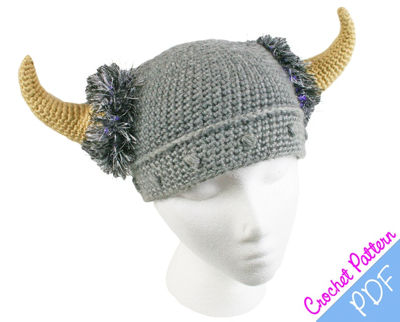 Crochet Pattern Barbarian Viking Beanie Crochet Pattern Etsy