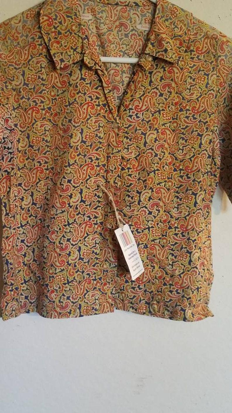 Vintage Short Sleeve Button Down Shirt Blouse Homemade