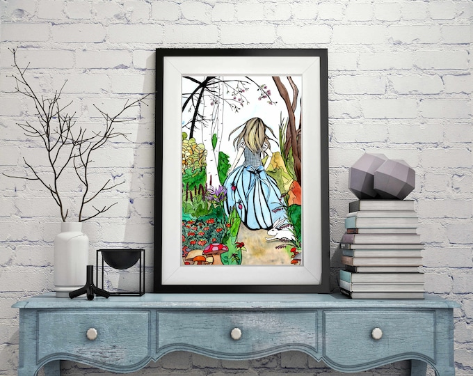 "Featured listing image: Alice - Lewis Carroll's Wonderland Inspired Watercolor Painting - 11""x17""Art Print"