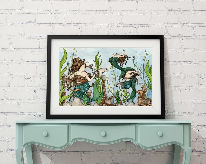 "Featured listing image: Mermaid Cove - Fantasy Sea Life Inspired Watercolor Painting - 11""x17"" Art Print"