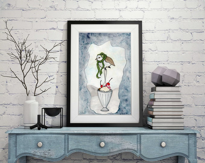 "Featured listing image: Chilly Bird - Storybook Inspired Watercolor Painting - 11""x17""Art Print"