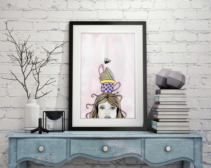 "Featured listing image: Little Miss Muffet - Nursery Rhyme Inspired Watercolor Painting - 11""x17""Art Print"