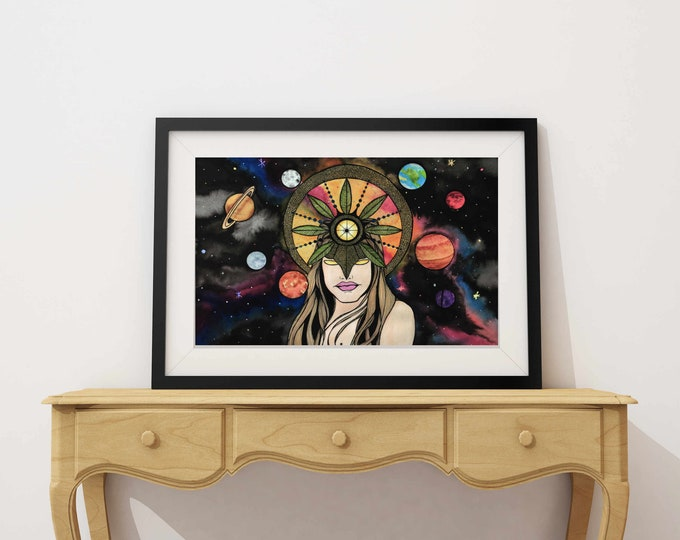 "Featured listing image: Celestial - Sun Goddess Inspired Watercolor Painting - 11""x17"" Art Print"