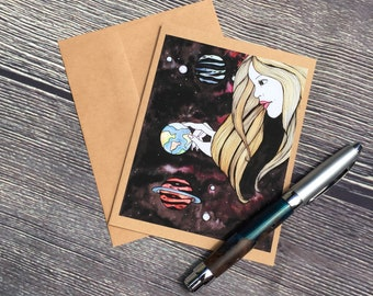 Celestial Play Things - Sun Goddess Inspired Watercolor Painting - Kraft Note Card