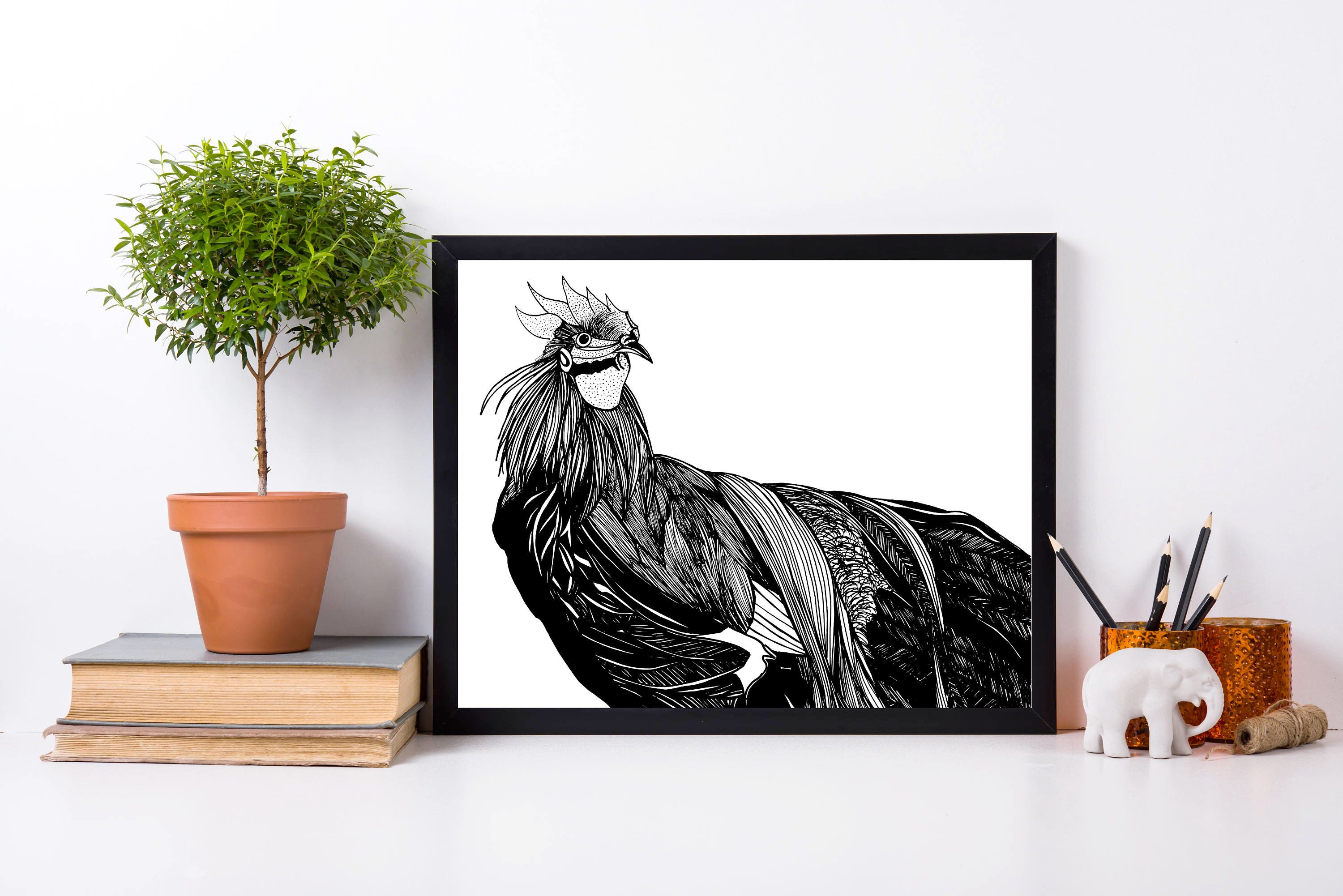 year of the rooster chinese new year original ink drawing art print
