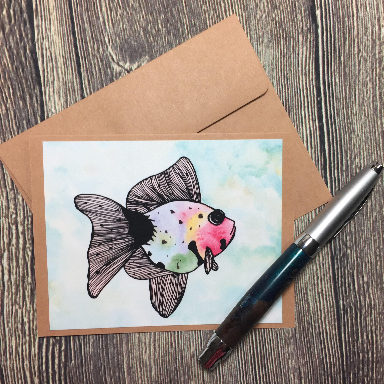 b0930fb8ca4 Rainbow Fish Original Watercolor Print - Kraft Note Card