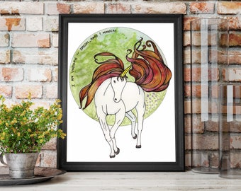 I Am Unicorn - Fantasy Watercolor Painting with Affirmation - Art Print
