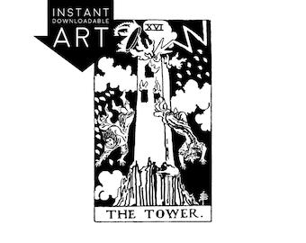 DIGITAL PRINT The Tower Tarot Card instant download Rider-Waite black and white rider waite XVI