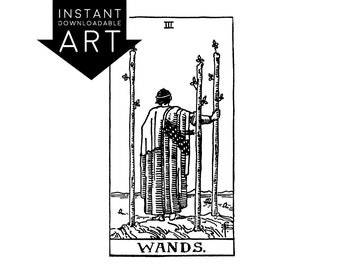 DIGITAL PRINT Three of Wands Tarot Card instant download Rider-Waite black and white Minor Arcana printable rider waite