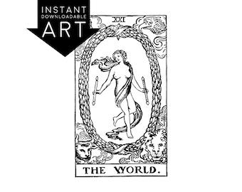 DIGITAL PRINT The World Tarot Card instant download Rider-Waite black and white rider waite