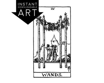 DIGITAL PRINT Four of Wands Tarot Card instant download Rider-Waite black and white Minor Arcana printable rider waite