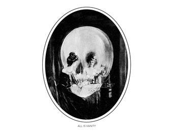 All Is Vanity Skull PRINT Vintage Halloween BBC Sherlock The Abominable Bride Art Giclée A4