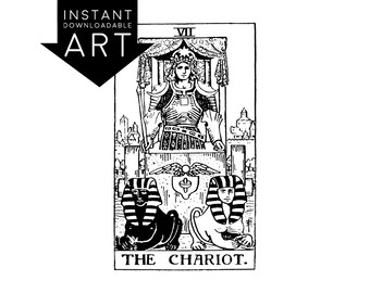 DIGITAL PRINT The Chariot Tarot Card instant download Rider-Waite black and white rider waite