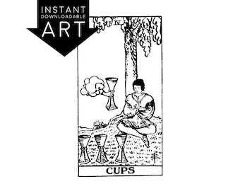 DIGITAL PRINT Four of Cups Tarot Card instant download Rider-Waite black and white Minor Arcana rider waite