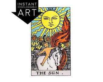 DIGITAL PRINT The Sun Tarot Card in colour color instant download Rider-Waite black and white rider waite XIX