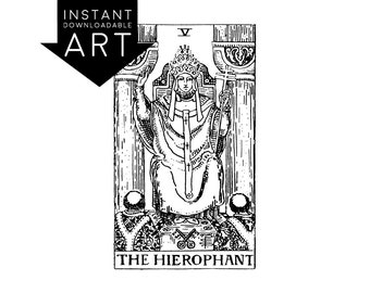DIGITAL PRINT The Hierophant Tarot Card instant download Rider-Waite black and white rider waite