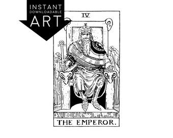 DIGITAL PRINT The Emperor Tarot Card instant download Rider-Waite black and white rider waite