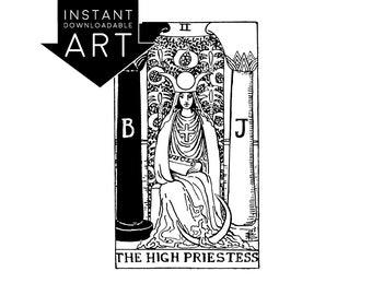 DIGITAL PRINT The High Priestess Tarot Card instant download Rider-Waite black and white rider waite