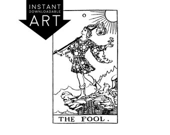 DIGITAL PRINT The Fool Tarot Card instant download Rider-Waite black and white rider waite