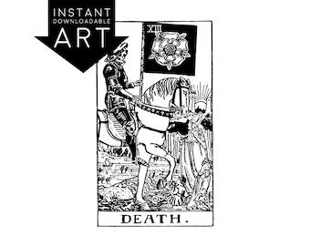 DIGITAL PRINT Death Tarot Card instant download Rider-Waite black and white rider waite XIII