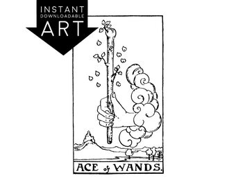 DIGITAL PRINT Ace of Wands Tarot Card instant download Rider-Waite black and white Minor Arcana rider waite