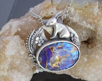 Handmade Metal Clay Fine Silver Pendant with Desert Bunny with Mojave Purple Turquoise Cabochon
