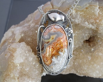 Handmade Metal Clay Fine Silver Pendant with Baby Quail with Crazy Lace Agate Cabochon