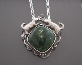 Handmade Metal Clay Fine Silver Pendant with Ground Squirrels with Jasper Cabochon