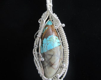 Royston Turquoise Sterling Silver Wire Wrapped Pendant