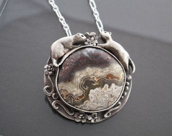 Fine Silver Artisan Metal Clay Pendant with Squirrels