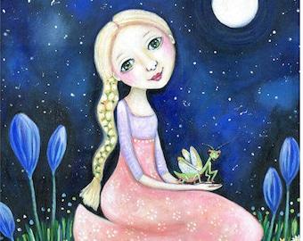 Praying Mantis Blonde Girl A3 Wall Art Print Folk Art 12 x 16 Art Print for Kids Nursery Children's Art Girl's Wall Decor Whimsical Art