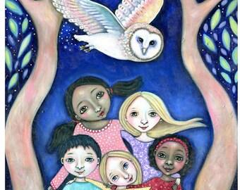 Circle of Children Wall Art Print Multicultural Kids Room Poster Owl Painting Art for Kids Nursery Art Teachers Present Art Wisdom Circle
