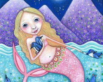 Blonde Mermaid Wall Decor Fairy Penguin Art Mermaid Art Print Mermaid Nursery Art Penguin Mermaid Art Mixed Media Painting Gift for Friend