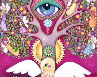 Griffin Art Print Tree Painting Third Eye Art Chakra Art Flying Griffin Tree of Life Affirmation Card Art Oracle Lindy Longhurst Fairy Art