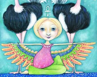 Ostrich totem wall art Maat Girl and Ostrich Art Print Animal Guides Children's Room Art spiritual Art gift for friend Folk Art Painting